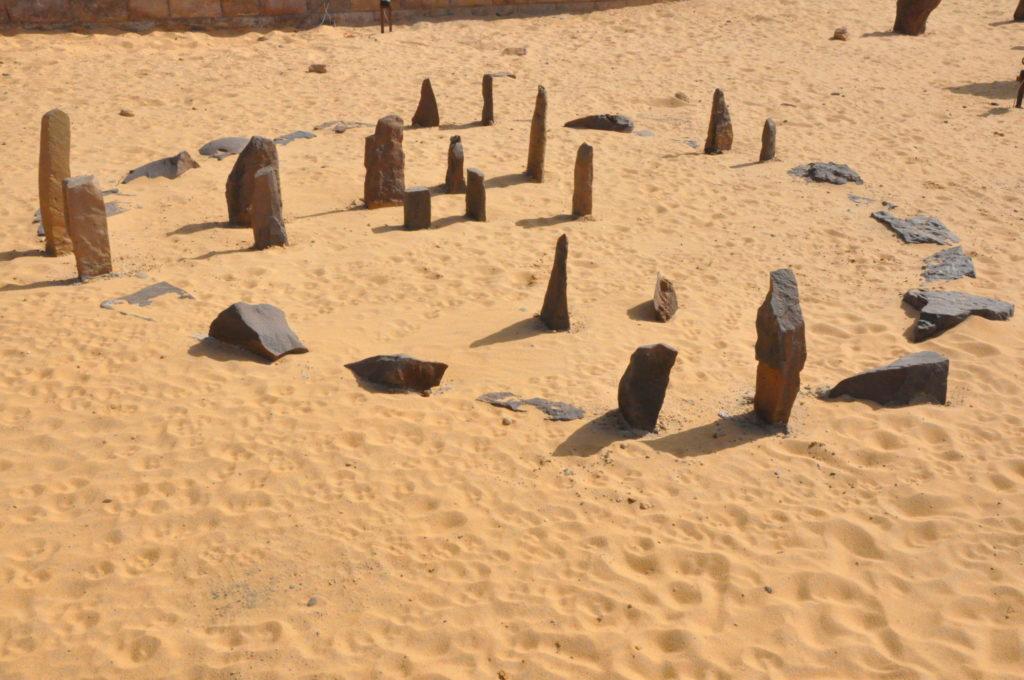 An alignment of rocks used as a calendar in an Egyptian desert